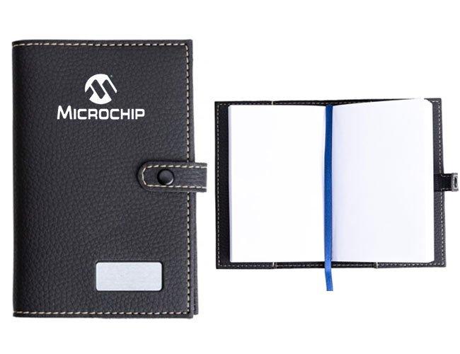 Bloco de anotação em couro sintético personalizado