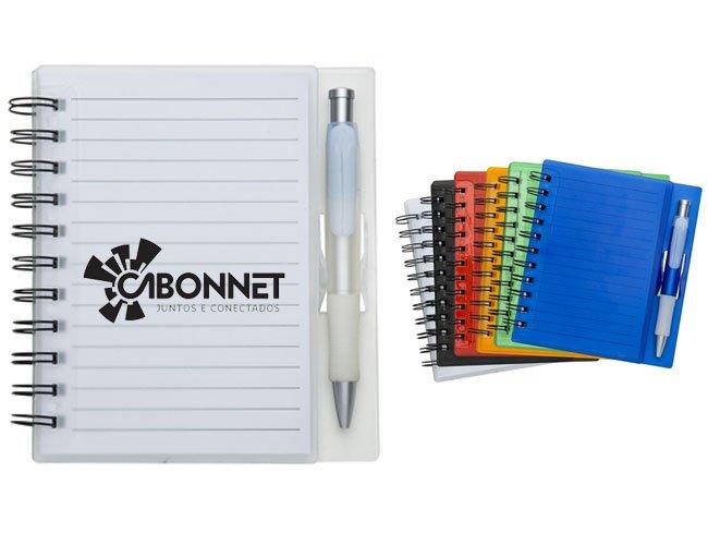 Bloco de anotação com caneta personalizado