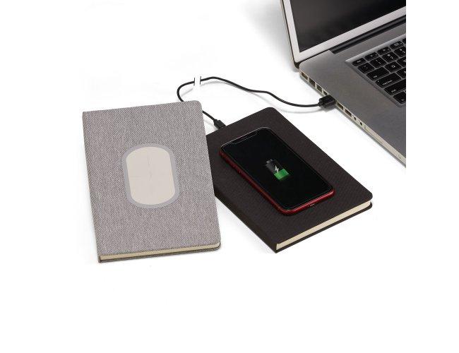 Caderno de anotações com carregador personalizado