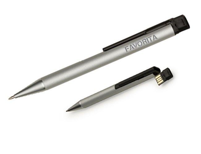 Caneta executiva com pen drive metálica promocional personalizada