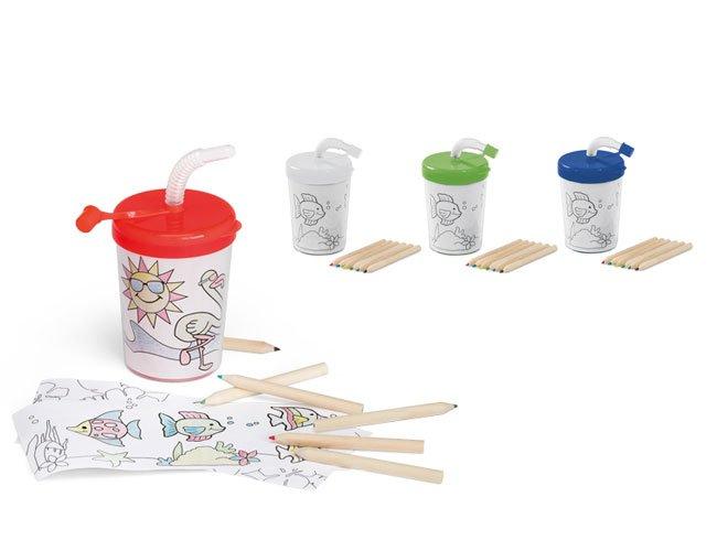 Copo infantil para colorir com tampa e canudo promocional personalizado 200 ml -ca13