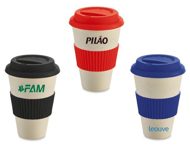 Copo ecológico para café viagem em fibra de bambu promocional personalizado - ca06