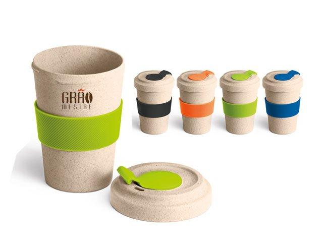 Copo ecológico para café viagem em fibra de bambu promocional personalizado - ca08