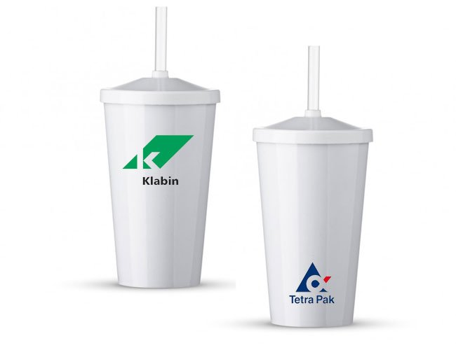 Copo plástico 550 ml com tampa e canudo promocional personalizado  - ca29