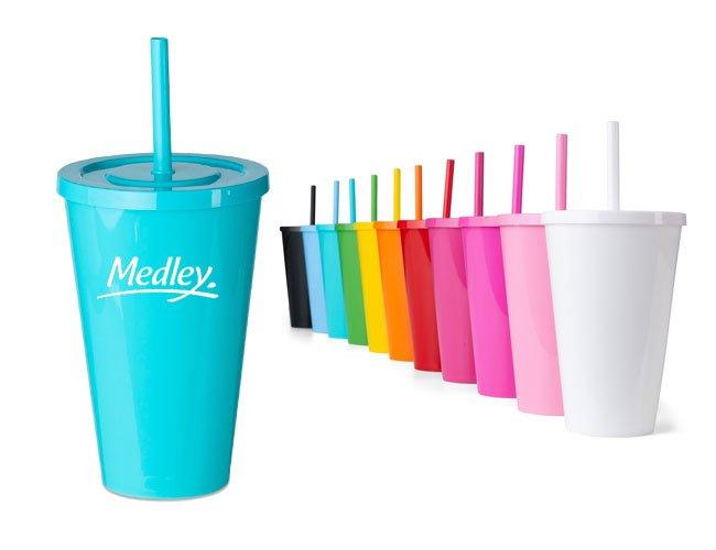 Copo plástico 600 ml com tampa e canudo promocional personalizado  - ca30
