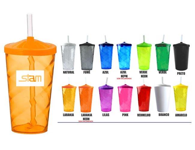Copo plástico com tampa e canudo 550 ml promocional personalizado - ca34