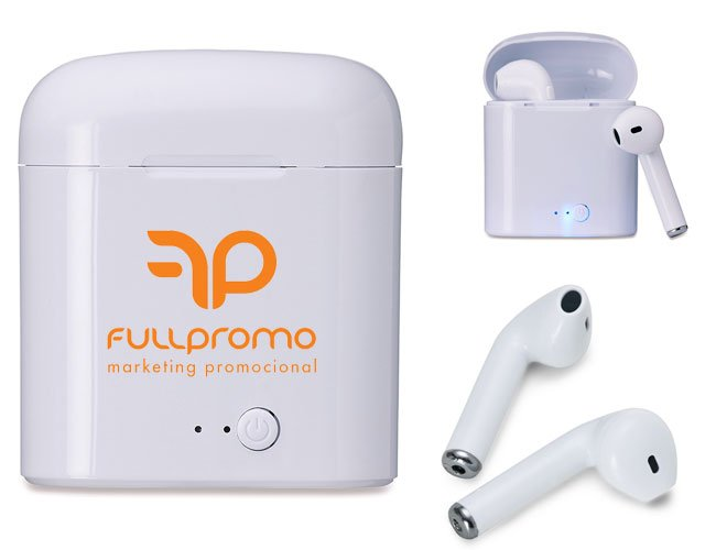Fone de ouvido com case recarregável bluetooth promocional personalizado - t41
