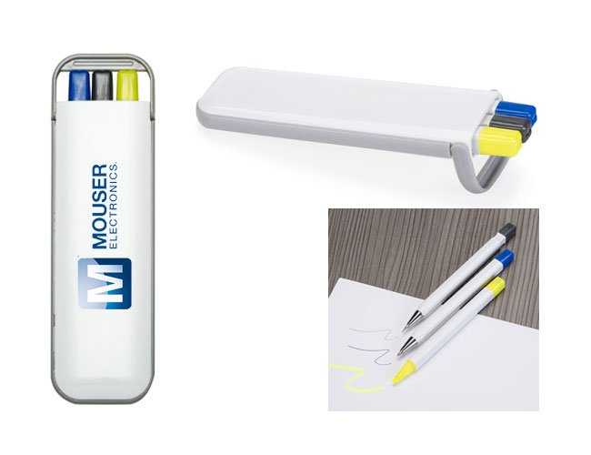 Kit com caneta, lapiseira e marca texto promocional personalizado  - es08