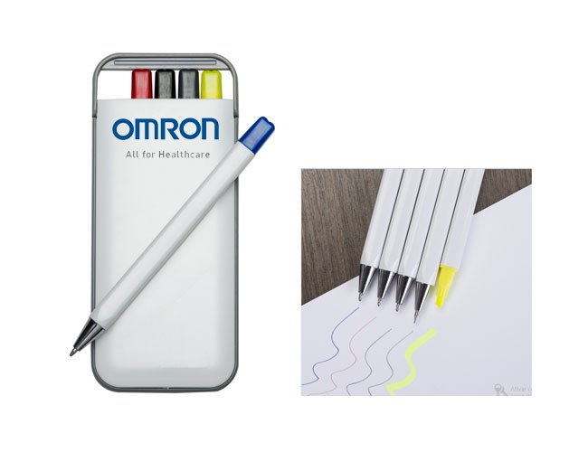Kit com caneta, lapiseira e marca texto promocional personalizado  - mt38