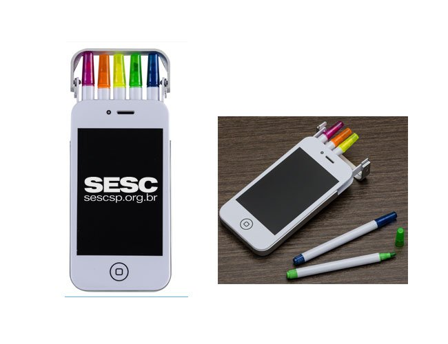 Kit com caneta marca texto formato iphone promocional personalizado - es3